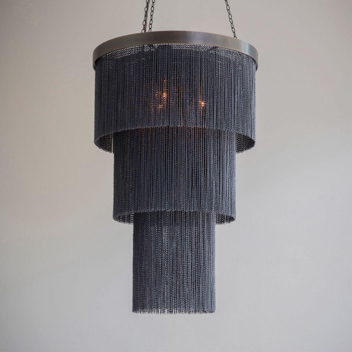 Black chain Long chandelier
