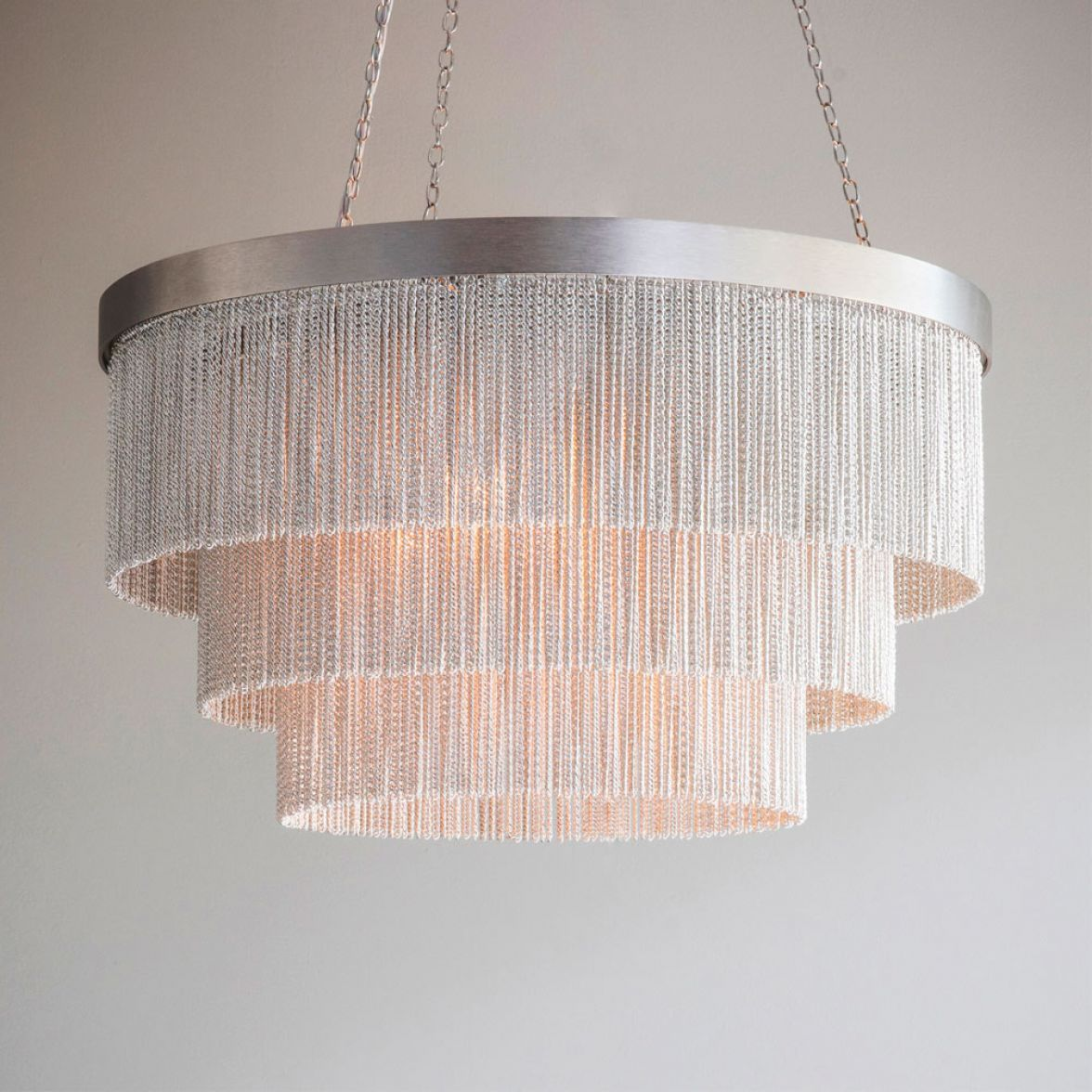 Silver Chain Shallow Chandelier