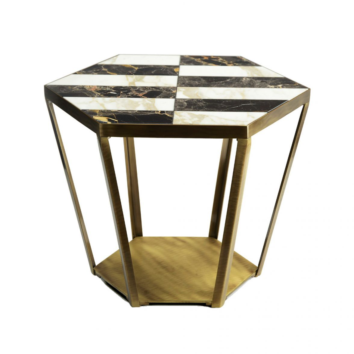 RAY SIDE TABLE WITH MARBLE INLAID TOP