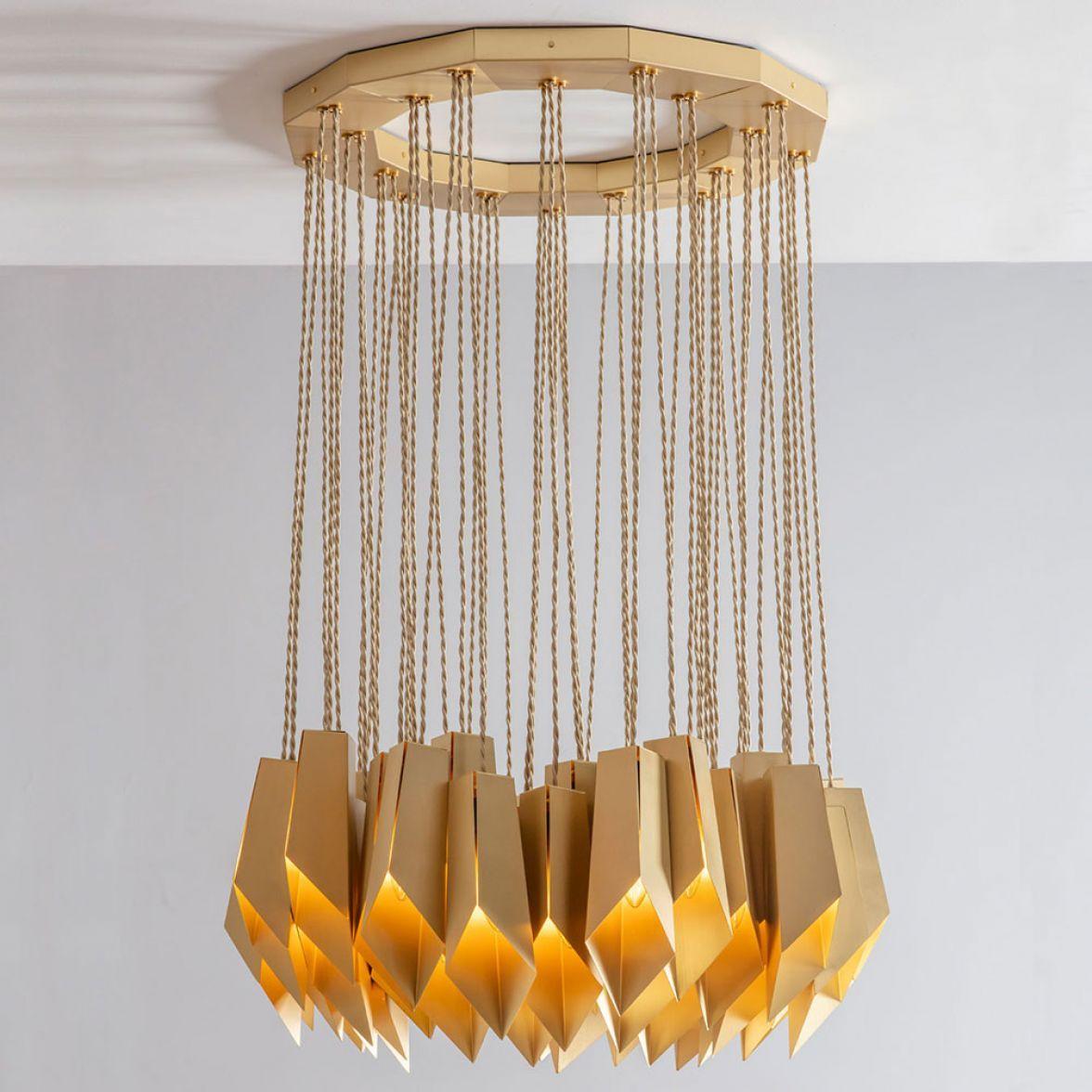 Brass Fold Ellipse Chandelier